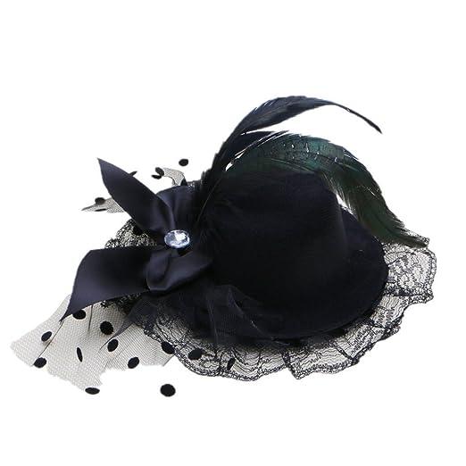Kocome Bow Hair Clip Lace Feather Mini Top Hat Fascinator Burlesque Party  Fancy Dress (Black 726475dd1e8