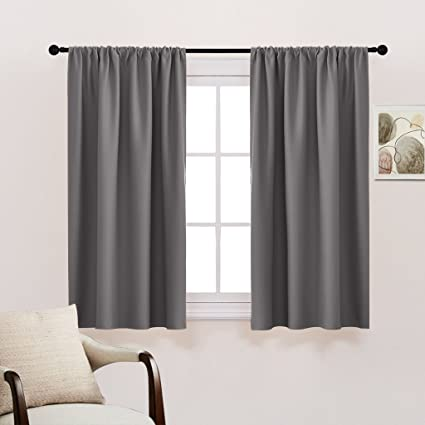 Great Grey Blackout Curtain Panels Drapes   Rod Pocket Thermal Insulated Home  Décor Window Treatments Draperies For