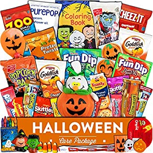 Halloween Care Package (35 count) - Trick or Treat snacks assortment bundle box with candy, cookies, chips, crackers, and more. Gift basket, bucket pack for kids, girls, boys, and college students