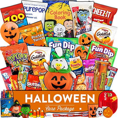 Halloween Care Package (35 count) - Trick or Treat snack box with candy, cookies, chips, crackers, and more for kids, girls, boys, and college students.