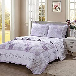 Cozy Line Purple Floral Patchwork 3-Pcs Quilt Sets, Love of Lilac Pattern Chic Bedding, Full/Queen