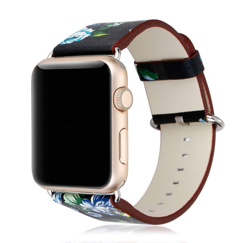 DAM DMX196BK - Correa de Piel sintética para Apple Watch (42 mm, diseño Flores) Color Negro