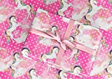 Gift Wrapping Paper 30'' x 84'' Sheet Vintage Style (Unicorn Pink)