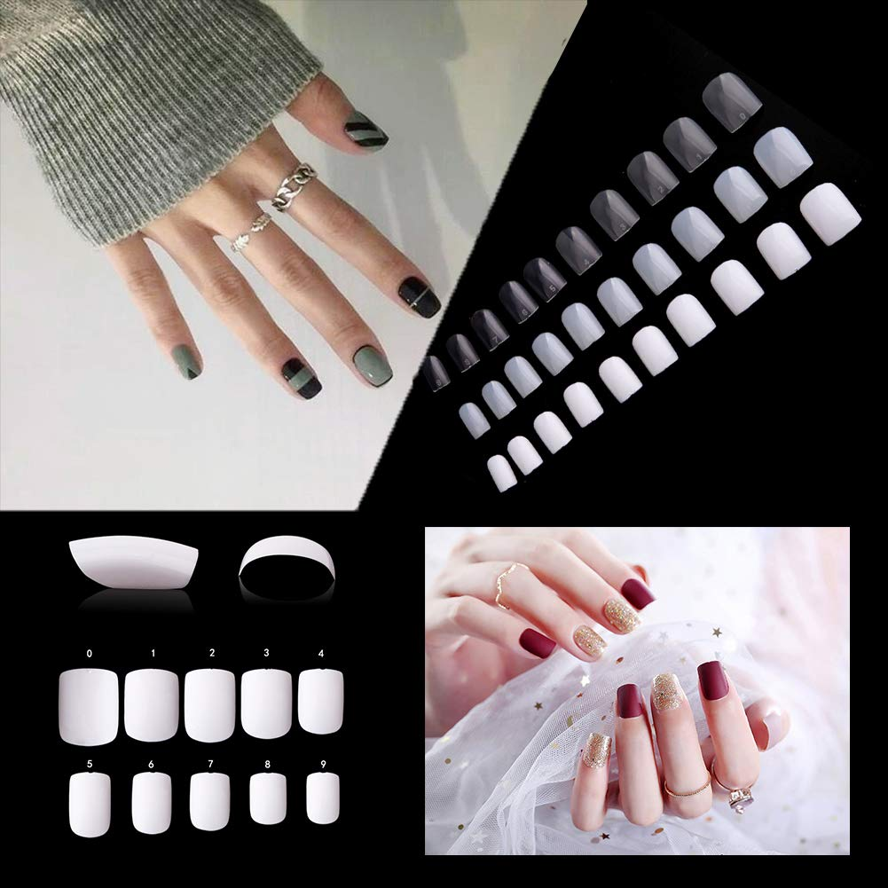 Short Square Fake Nails Tips 600Pcs Full Cover Acrylic False Nails Artificial Nails For Nail Salons & DIY Nail Art - 10 Sizes (nature) Beauty Kate