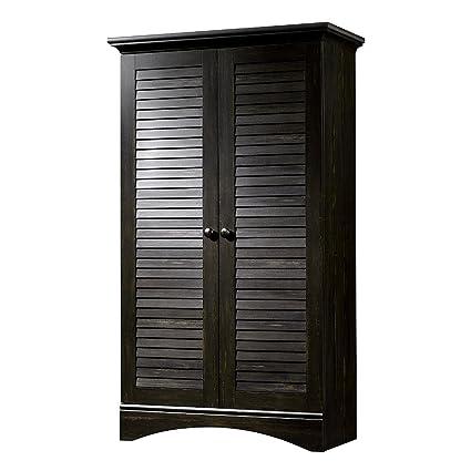 Excellent Amazon Com Louver Storage Cabinet Wooden Dark Brown Download Free Architecture Designs Grimeyleaguecom