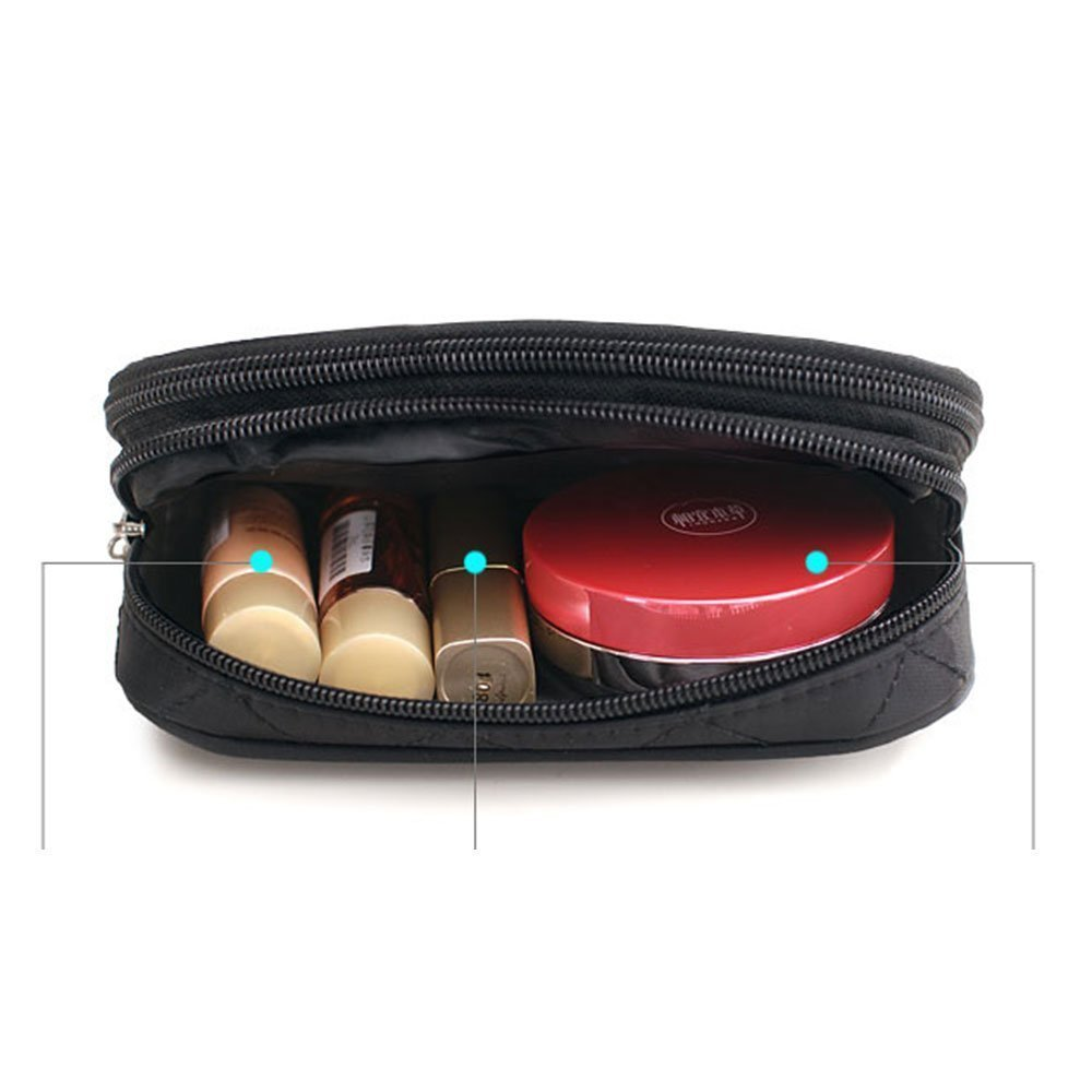 Makeup Bag for Women With Mirror, Travel Pouch Bag Organizer Cosmetic Bag - Black