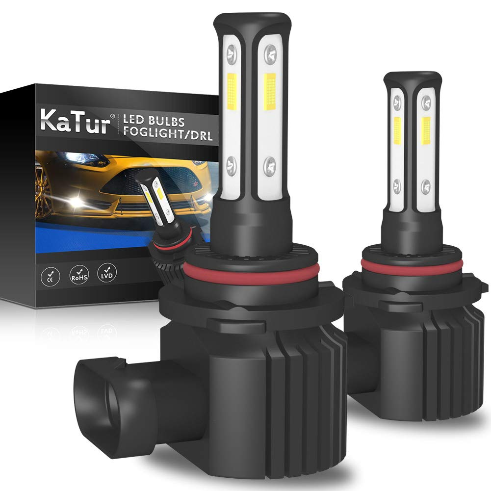KaTur 9006 HB4 LED Fog Light Bulbs 3-sides Shinning Extremely Bright 3570 chips Canbus Max 100W 3000 Lumens Replace for Driving Daytime Running DRL or Fog Lights,6000K Xenon White-2 Yrs Warranty