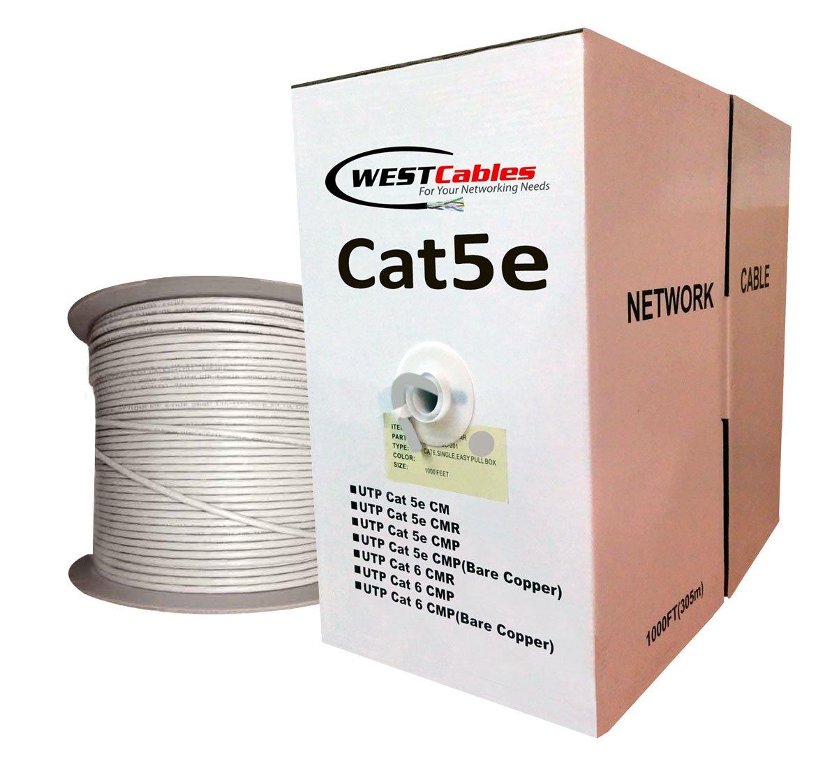1000FT Cat5e Plenum Bulk CMP Rated UTP Ethernet Network Cable Grey