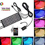 Car LED Strip Lights Justech 6PCS 72LEDs Multicolor Music Car Interior Atmosphere Lights RGB SMD Car Mood Lights with Sound Active Function and Wireless Remote Control for Car TV Home-USB Port