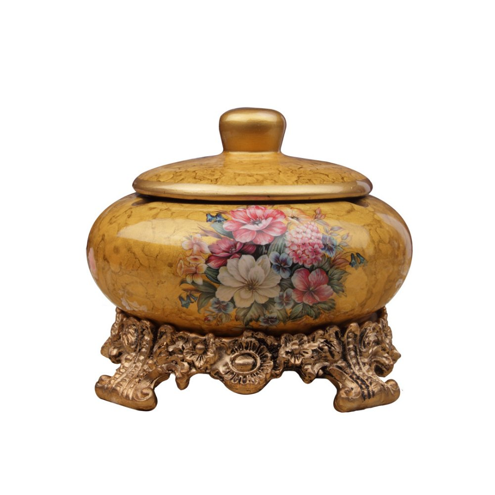 Whthteey European Style Retro Ashtray Ceramics Cigarette Ashtray with Lid Exquisite Decorations for Indoor and Outdoor