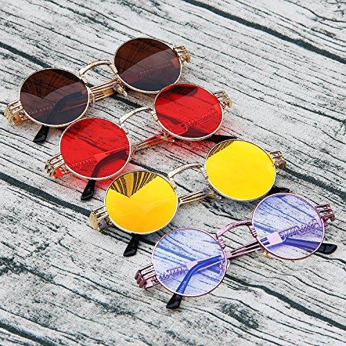 de Sol Marco Naranja Dorado Rojo AMZTM Redondo Metal Steampunk de Gafas Gafas de Lente Marco Vendimia BRqC8Aw