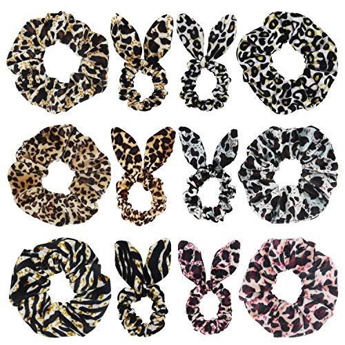 Animal Print Hair Bow - SUSULU Set of 12 Leopard Velvet Scrunchies Bunny Ear Bow Hair Ties Ponytail Holder (Mix Styles)