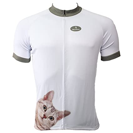 bd4feb3f3 Paladin Bicycle Jersey for Men Short Sleeve Cat Pattern White Cycling Shirt  Size M
