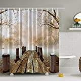 Shower Curtain, Jaragar Waterproof Mildewproof Polyester Fabric Shower Curtain Fall Wooden Bridge Printed Bath Accessories 71 x 71 inch with Plastic Hooks