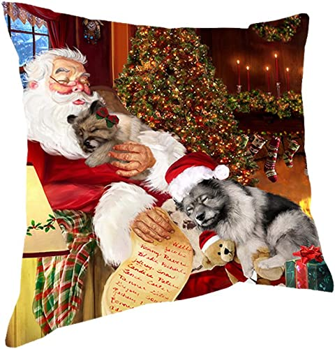 Doggie of the Day Happy Holidays with Santa Sleeping with Keeshond Dogs Christmas Pillow 18×18