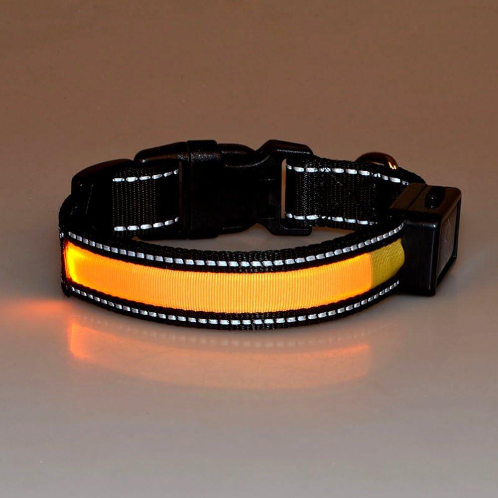 LaiXin Collar de Perro led Recargable, Nylon Collar de Seguridad para Perros Ajustable Impermeable Recargable por Cable USB y Solar para Grandes Perros, Amarillo, L