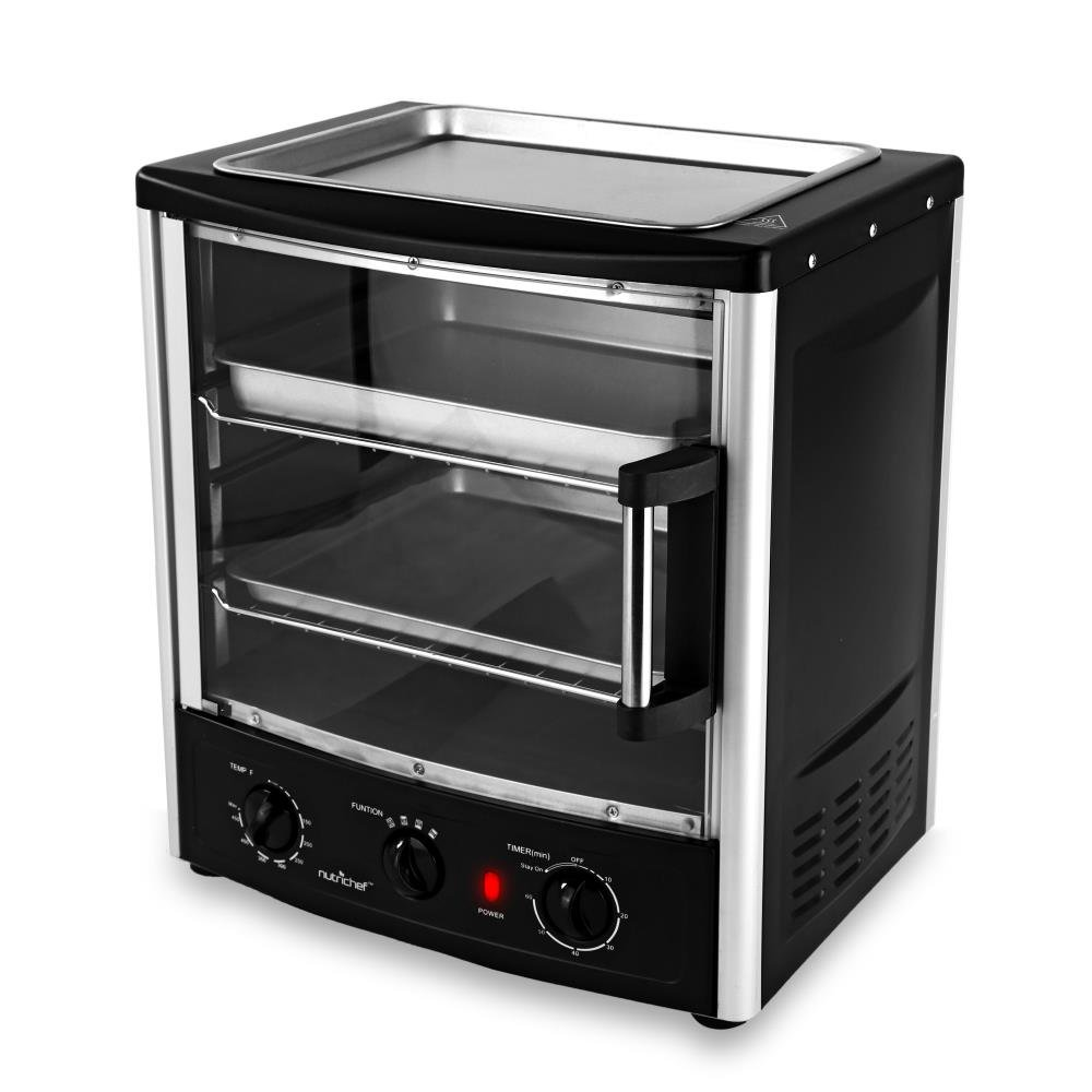 Electric Countertop Vertical Multifunction Oven - Pro Compact Kitchen Black Double Rack Grill Baking Rotisserie Toaster Oven w/ Glass Door, Pans, Tray, For Pizza Bread Chicken - NutriChef PKMFT039