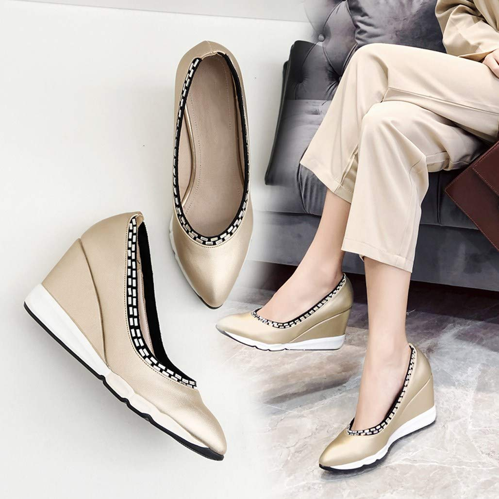 GoldGOD Damen High Heels Flachen Flachen Flachen Mund Lok Fu Schuhe Zeigte Partei,Gold,39 f3e4af