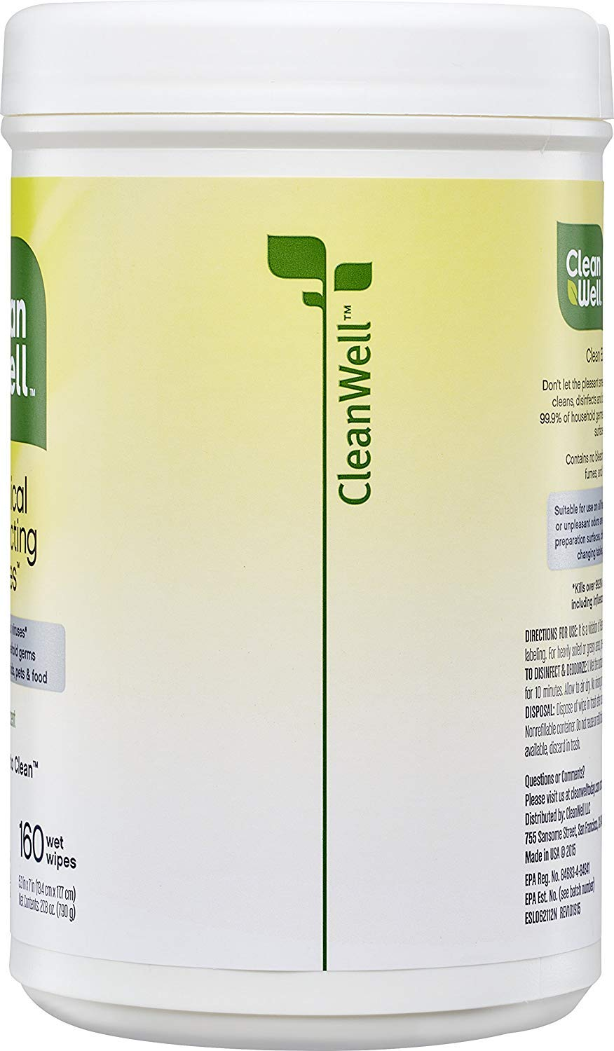 CleanWell Botanical Disinfecting Wipes - Lemon Scent, 160 Count by Cleanwell (Image #10)