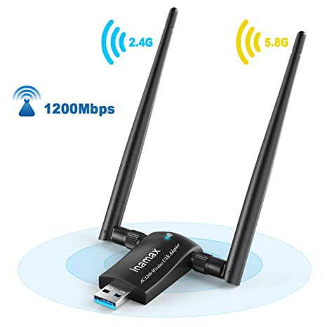 High Speed 1200Mbps 2.4G//5G Dual Band USB WiFi Adapter W// Antenna for Desktop PC