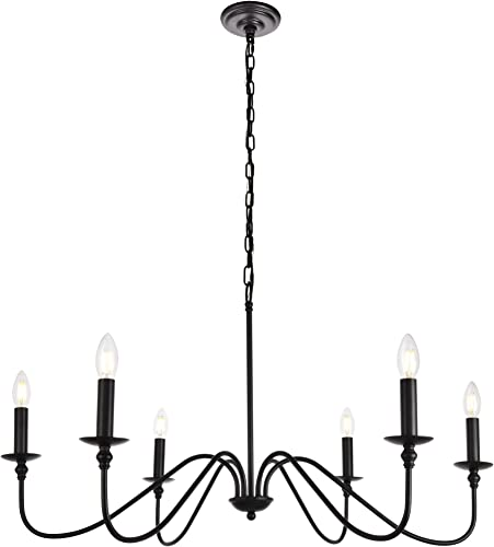 6-Light Chandelier in Matte Black