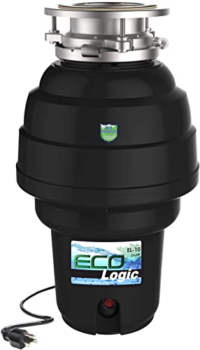 Eco Logic 10-US-EL-10-3B Garbage Disposal with Removeable Splash Guard, Attached Power Cord and Standard 3-Bolt Mounting System, Continuous Feed, 1 1 4 Horsepower, Black