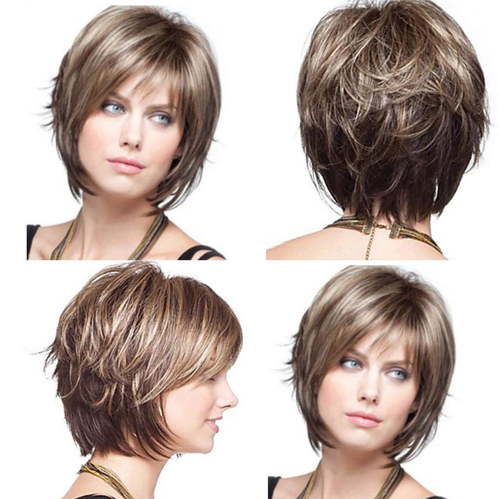 Brown Wigs for Women Short Curly Hair Wig Synthetic Full Female Wigs with Wig Cap Brown
