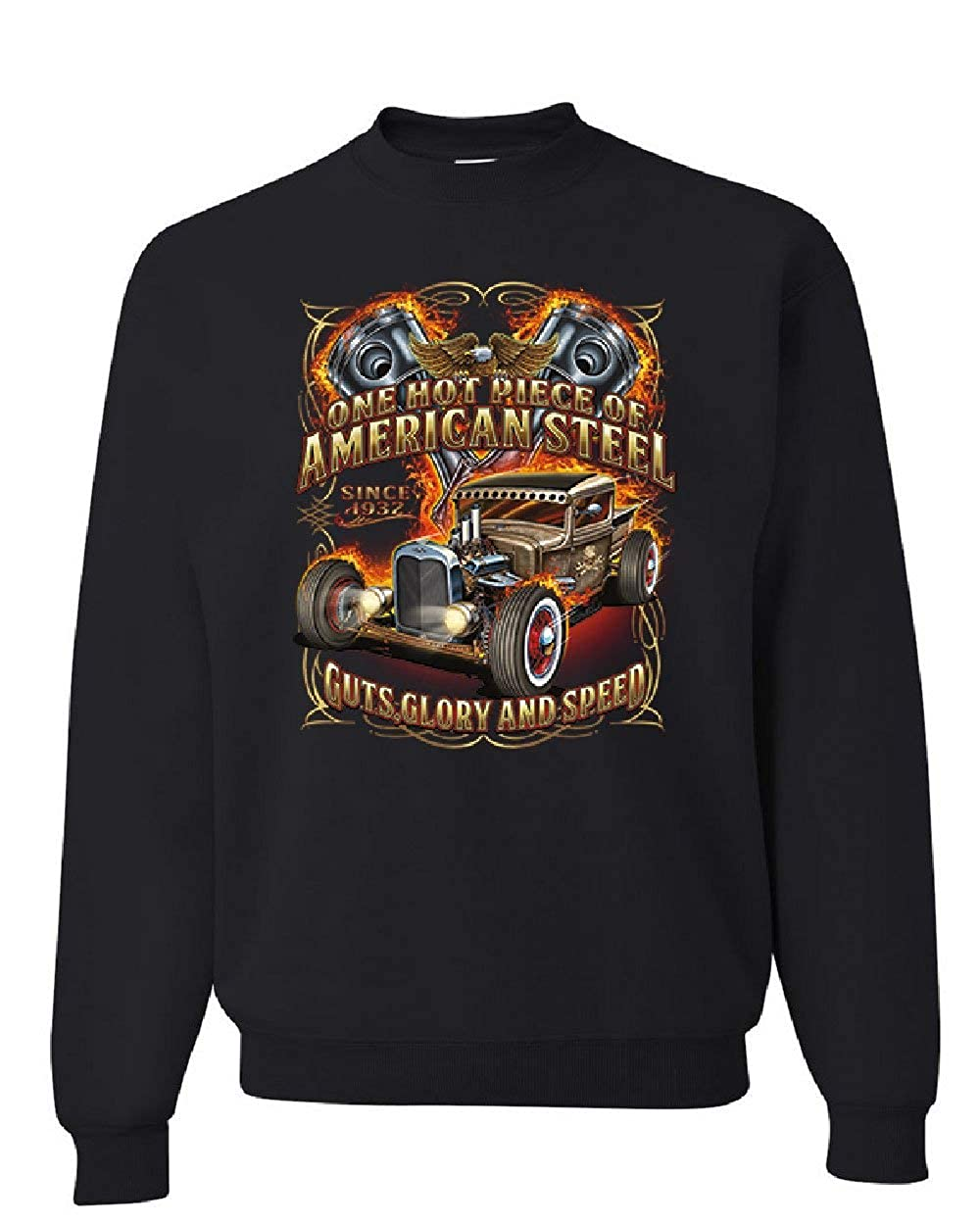 One Hot Piece of American Steel Sweatshirt Hot Rod Guts Glory Speed Sweater