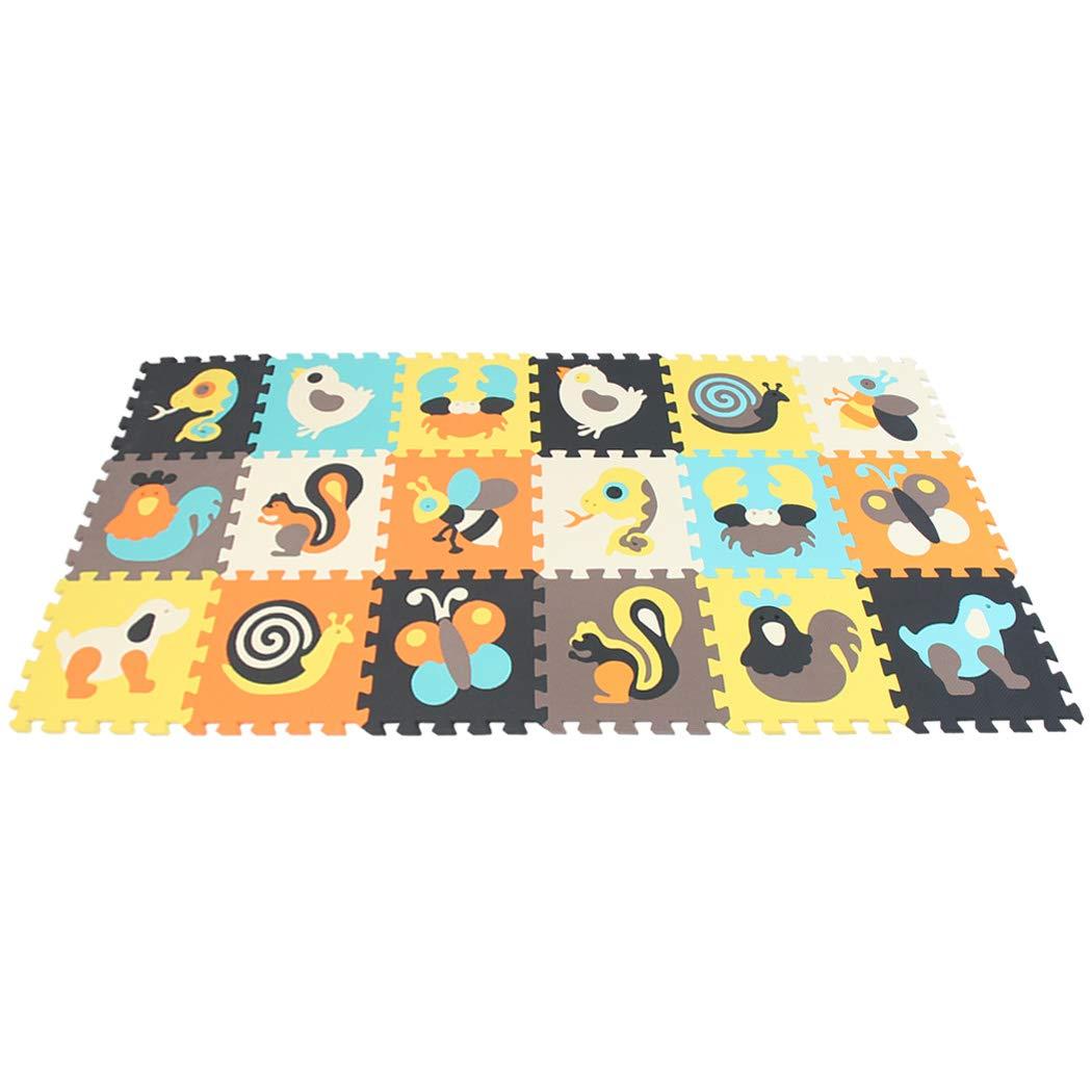 MQIAOHAM 18 Pcs Foam Play Mat Children Kids Baby Soft EVA Foam Activity Animal Puzzle Play Mat Rug Playroom Floor Tiles (11.8x11.8x0.4 inch) P010010