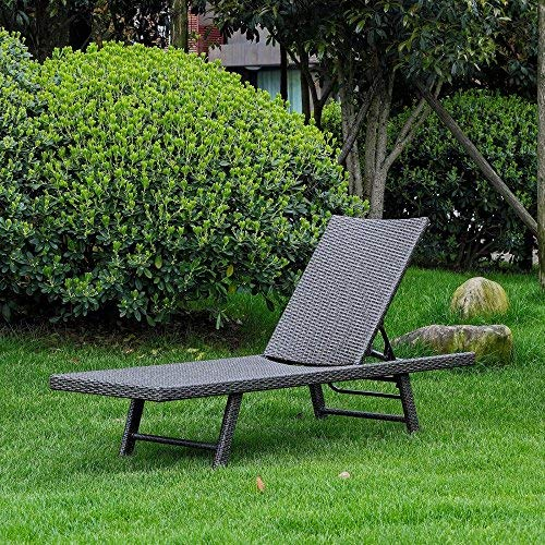 (International Caravan YF-9035-CL-AGY-IC Furniture Piece Barbados Resin Wicker Multi-Position Chaise Lounge )