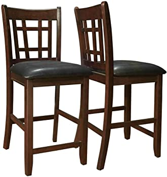 2-Piece Coaster Leather Look Pub Dining Chair