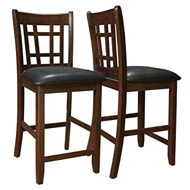 Lavon 24  Counter Stools Black and Espresso (Set of 2)