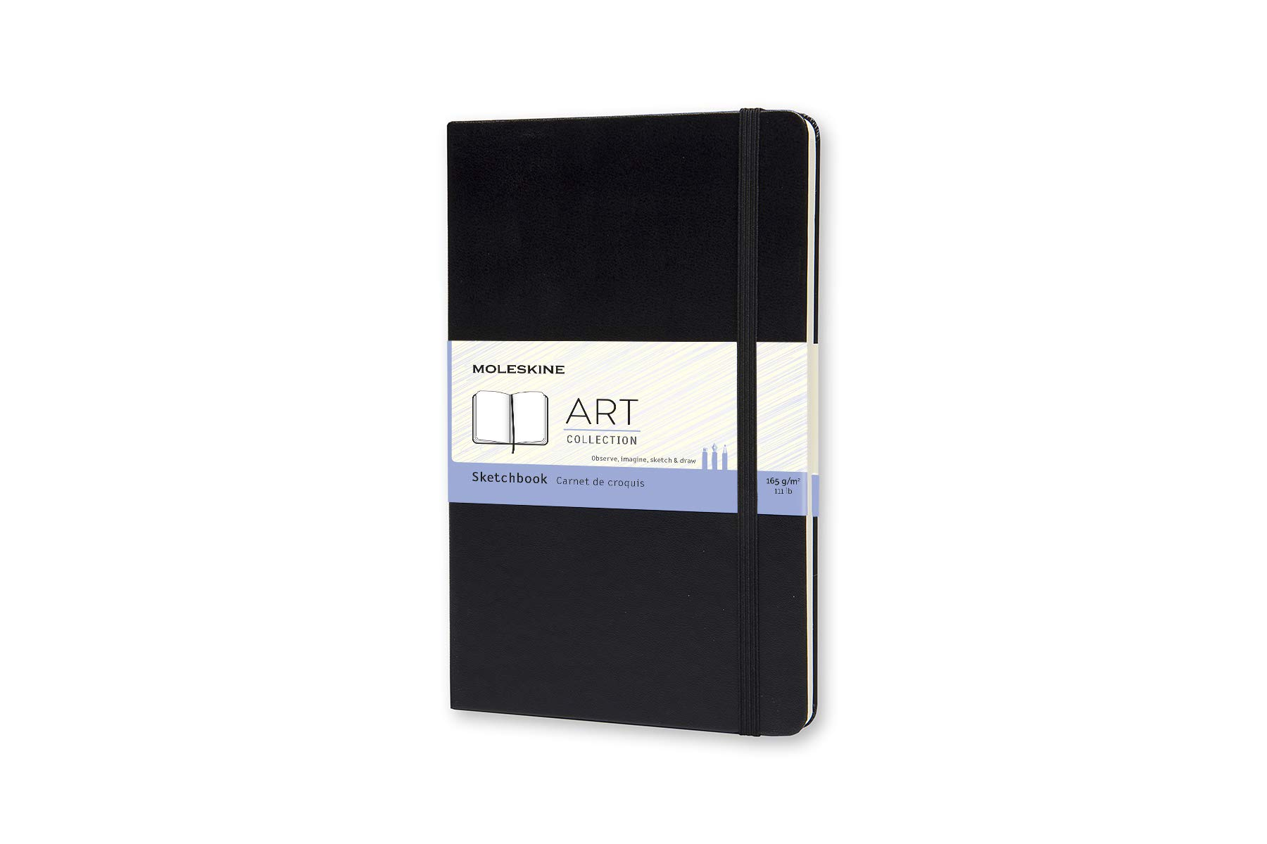 Moleskine Art Plus Hard Cover Sketchbook, Plain, Large (5 x 8.25) Black - Sketch Pad for Drawing, Watercolor Painting, Sketchbook for Teens, Artists, Students