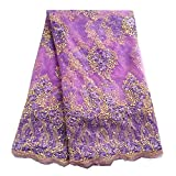 pqdaysun 5 Yards African Lace Fabrics Nigerian French Beaded Tulle Fabric (purple)