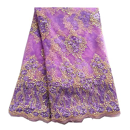 pqdaysun 5 Yards African Lace Fabrics Nigerian French Beaded Tulle Fabric (purple) by pqdaysun