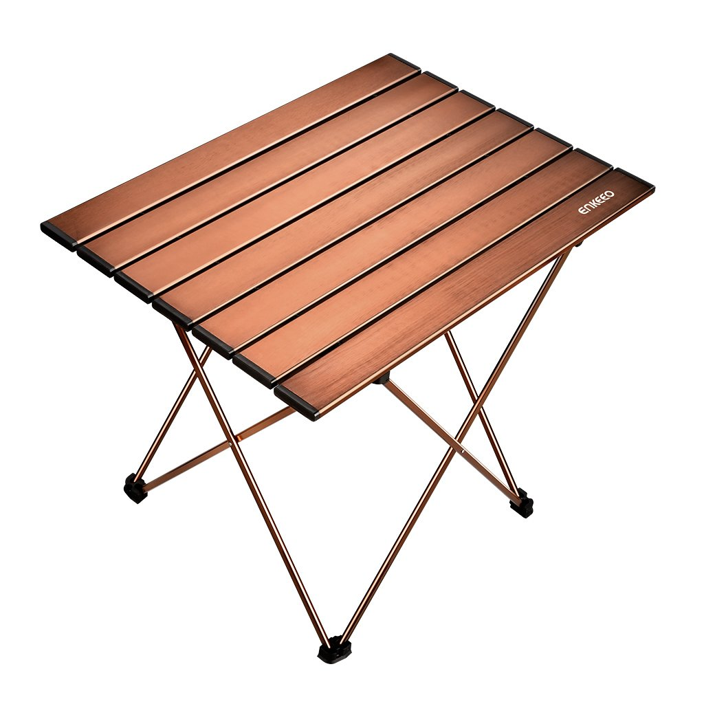 ENKEEO Foldable Camping Table Portable Aluminum Desk with Carry Bag for Picnic, BBQ, Fishing, Hiking and Travel