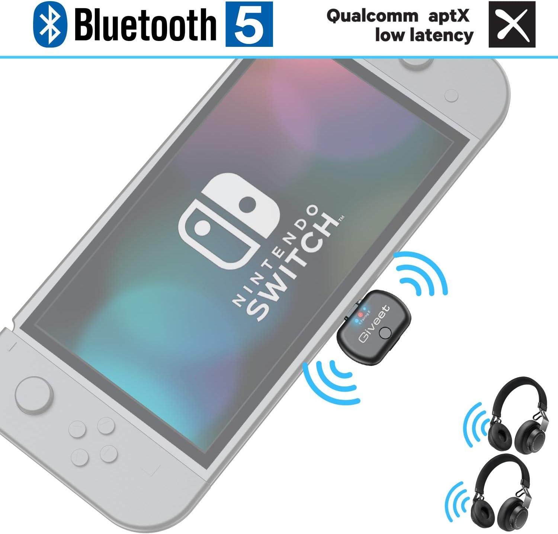 Giveet Adaptador de transmisor de Audio Bluetooth con Conector USB Tipo C, Soporte de Chat de Voz en el Juego, Dual Link aptX Baja latencia Compatible con Nintendo Switch, PC