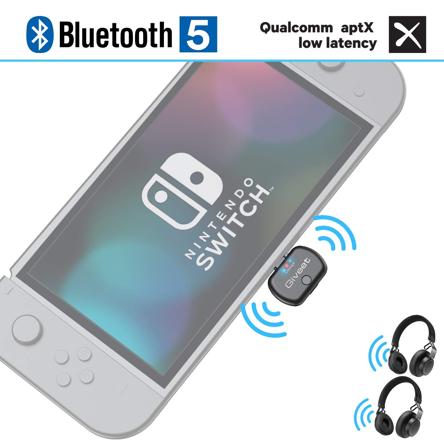 Giveet USB-C Bluetooth Audio Transmitter Adapter Support in-Game Voice Chat, Dual Link aptX Low Latency Compatible with Nintendo Switch, Wireless Gaming Headphones and PC by Giveet
