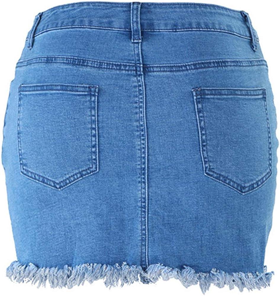 Falda Tubo Corta para Mujeres, Desgastado Minifalda Skirt Cintura ...