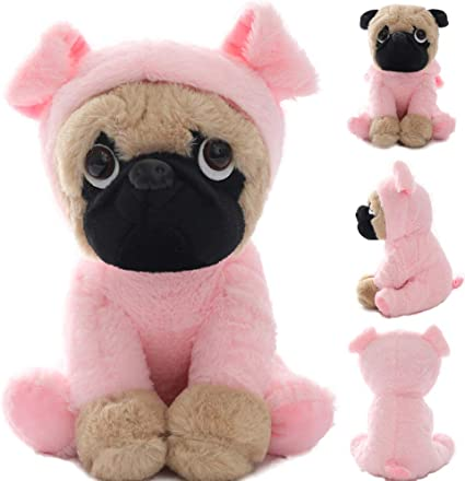 """New Large Plush Toys 10/"""" Pug Dog In 6 Costumes Cuddly Soft Toy Girl Kids Gift"""