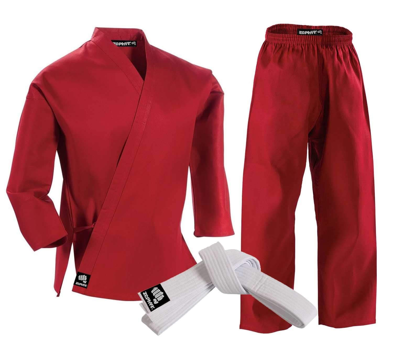 Zephyr Martial Arts Karate Gi Student Uniform with Belt - Red - 000 by Zephyr Tactical