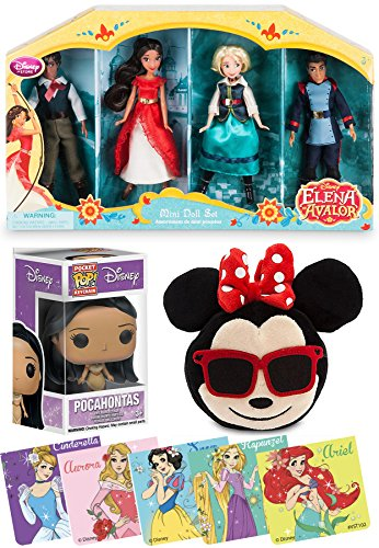 Disney Mini Doll Set Elena of Avalor & Plush Emoji Minnie Mouse Sunglasses & Smiling Face / Pocket Pop Figure Pocahontas & Princess Character (Cinderella Face)