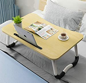 Zicheng Laptop Bed Tray Table, Foldable Lap Desk Stand, Multifunction Lap Tablet Perfect for Eating Breakfast, Reading Book, Working,Watching Movie on Bed/Couch/Sofa/Floor,Light Brown