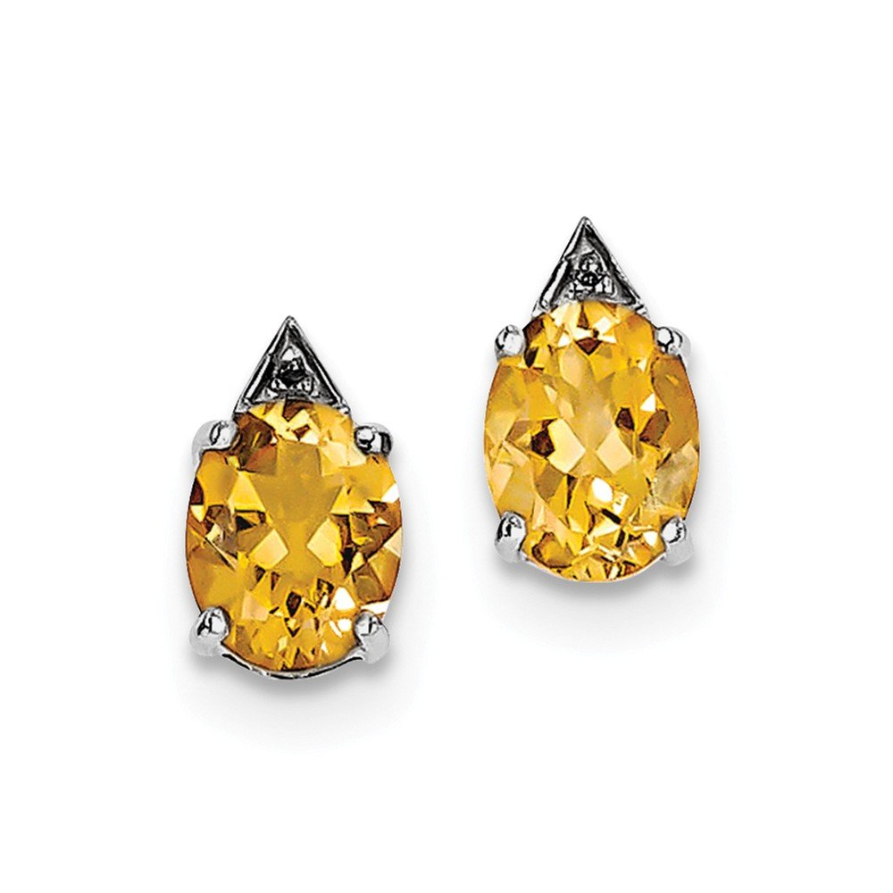 Sterling Silver Rhodium Citrine & Diamond Post Earrings