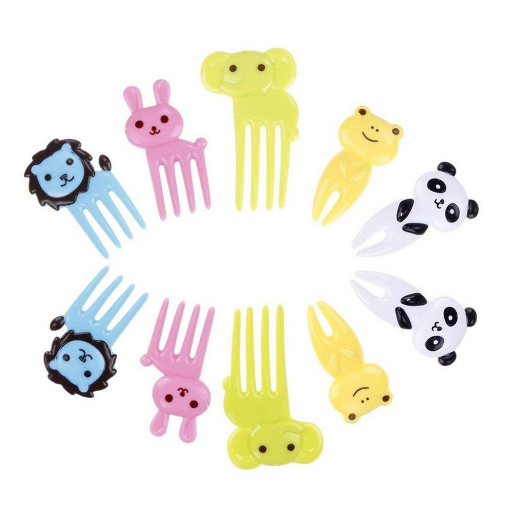 homiki 10x Bento Decoration Food Kawaii Food Fruit Fork Picks Elephant Lion Cartoon Animal Rabbit Frog Pand (Random Delivery) PG