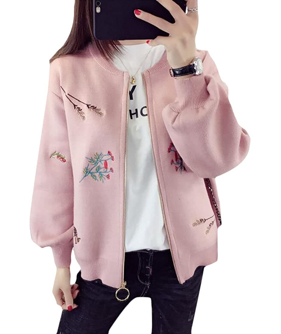 lovever Womens Long Sleeve Classic Front Zipper Printing Flowers Slim Fit Baseball Jacket
