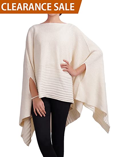 ca9bd0f14086 DELUXSEY Loose Mix Knit Pullover Poncho Cape for Women Womens Pullovers  Sweaters at Amazon Women s Clothing store