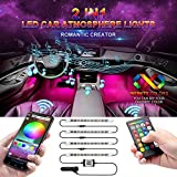 Car LED Strip Light, Wsiiroon Newest Style Remote and APP Control Car Interior Lights, Upgrated 16 Fixed Colors, Infinite DIY Colors, New Type Lamp Strip, Sound Active Function(DC 12V)