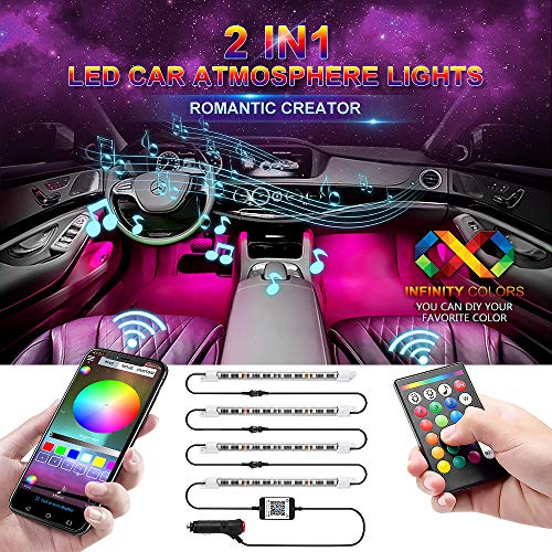 Remote Active (Car LED Strip Light, Wsiiroon Newest Style Remote and APP Control Car Interior Lights, Upgrated 16 Fixed Colors, Infinite DIY Colors, New Type Lamp Strip, Sound Active Function(DC 12V))
