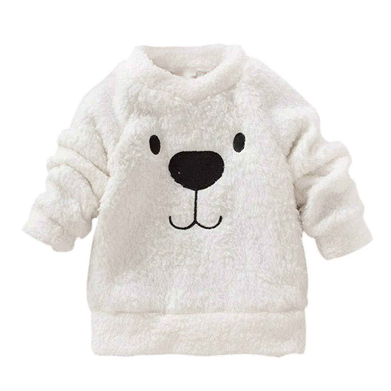 Carmsolima Children Baby Clothing Boys Girls Lovely Bear Furry White Coat Thick Sweater Coat New
